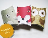Forest friends-Printable PDF-printable pillow boxes - birthday party favors-printable party favor boxes-bear, owl, fox-personal use only