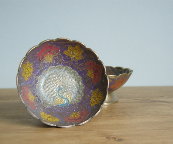 Moroccan style vintage middle eastern peacock bowls