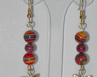 Multi color turquoise  earrings.  (#360)
