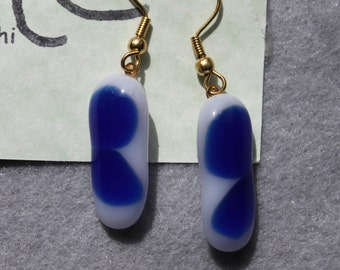 blue and white fused glass earrings