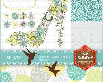 Instant Downloads, Digital High Heels Flowery Shoes Clip Art. Scrapbook Paper. Personal and Small Commercial Use. BP 0752