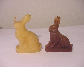 Two Vintage Bunny Rabbit Candles.  122