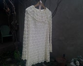 beautiful vintage 50's 60's mod wedding ,formal lace dress . mini dress.