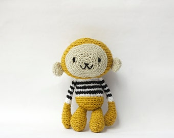 Amigurumi Crochet Monkey, Stuffed Toy - Mustard Yellow Monkey in Black and White Striped Sweater