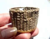 Dark Brown Hemp Storage Basket with Handles 1:12 scale