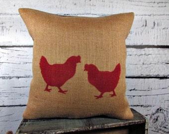 Burlap pillow with hens