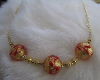 Venetian Bead Necklace in Gold and Red