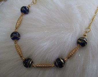 Venetian Bead Necklace in Royal Blue and Gold