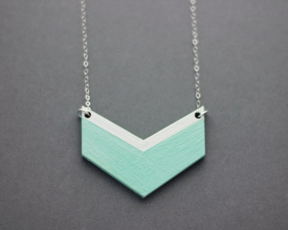 Small Wooden Chevron Necklace (Mint - White)  Modern Handmade Jewellery