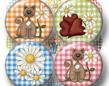 Daisy, Flowers, Cat and Hearts, Bottle Cap Images, Digital Collage Sheet, Picnic Plaid Gingham, 1Inch, Printable, Circles, Instant Download