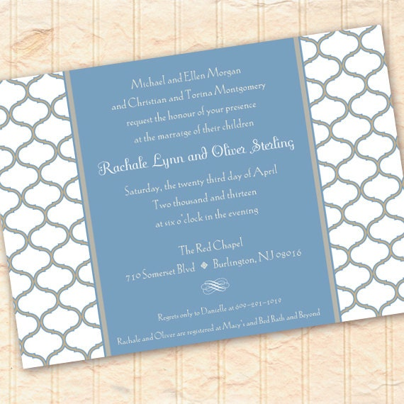 wedding invitations, blue bridal shower invitations, baby shower invitations, blue and white wedding, slate blue wedding, IN196