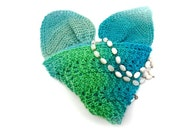 Scarf headband head wrap lime green turquoise blue ear warmer hand knit lace pattern gifts for her gifts under 50