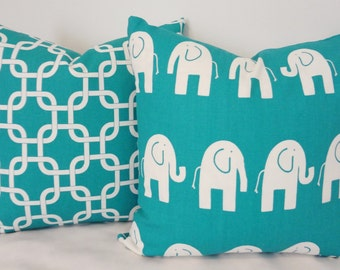 Decorative Pillow Set Turquoise & White Elephant Geometric Pillow Covers 18x18