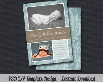 INSTANT DOWNLOAD - Birth Announcement Template (Boy BA 25) Photographer Template