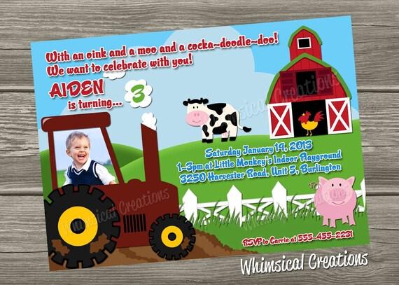 Farm Birthday Invitation Tractor Birthday Invitation