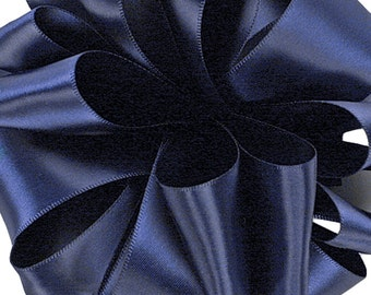 "Satin Ribbon, 1 1/2"" wide, Navy Blue Double Faced -  THREE YARDS - Offray Double Sided Satin / Sewing Trim / Wedding / Floral / Ribbon No. 9"