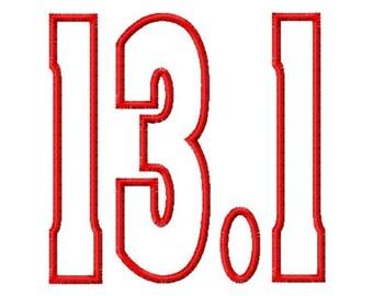 Half Marathon - 13.1 - Applique - Machine Embroidery Design - 9 Sizes