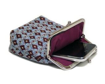 Smartphone Case / Fabric Cigarette Case with pocket inside - Bordeaux Diamonds - Silver Frame