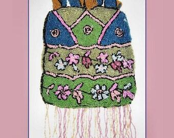 Vintage 1920s Art Deco Beaded Bag Purse; Flapper; Roaring Twenties 20's; Colorful Pastels; Flowers Geometric Design; Satin Cord; 5 x 9-AS IS
