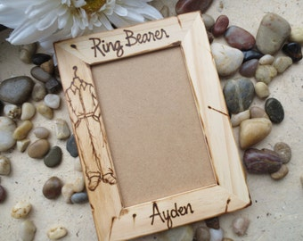 Ring Bearer Gift Personalized Wood Frame with HIS Name and Rustic Wedding Outfit - Jeans Cowboy Boots and Button Down Shirt