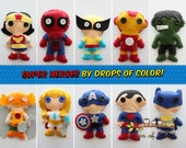 ONE Super Hero Plush Toy - Your Choice of Felt Plush Super Heroes Ornaments - Inspired from Avengers and Justice League