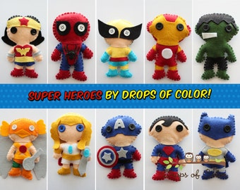 ONE Super Hero Plush Toy, 1 Felt Plush Heroe of your choice, Christmas Ornament, Inspired from Avengers, Justice League, Gift Favor Party