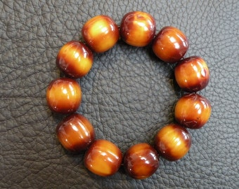 amber imitation perls in marron brown bracelet