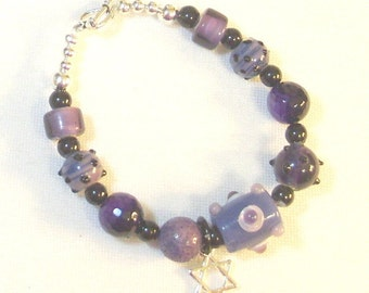 Purple and Black Lampwork Beaded Bracelet