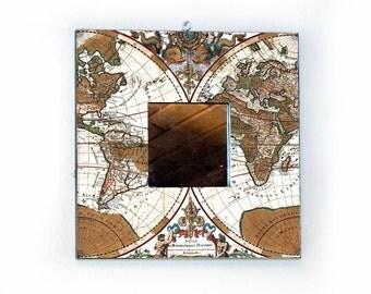 World Map Mirror, 10x10 inch (25x25cm) World Map from 1691, vintage world map, Nursery room decor, Cabinet decor, ohtteam