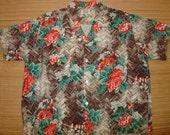 Mens Vintage 50s Penny's Rayon Lauhala Thatched Hawaiian Shirt - XL -  The Hana Shirt Co