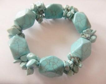 Chunky Turquoise Bracelet - Magnesite Jewelry