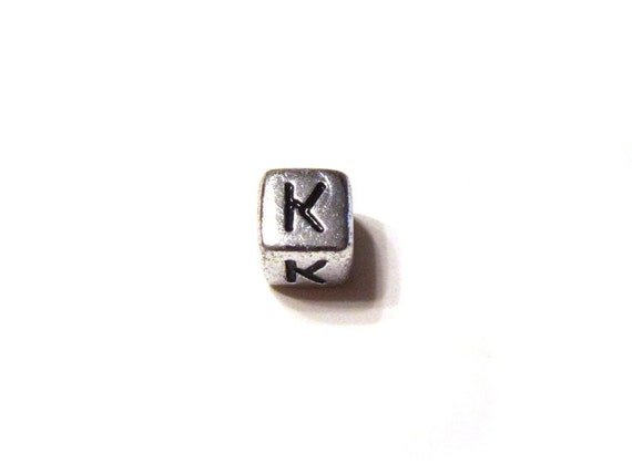 CLEARANCE CLOSEOUT SALE Silver Letter K Alphabet Square Cube Bead 6mm - Set of 240