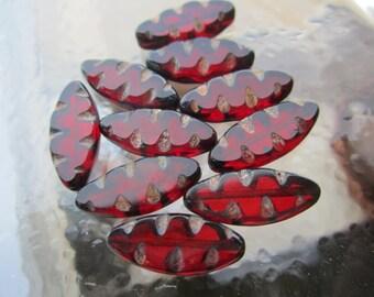 Czech Ruby Fancy Window Beads Glass 18x7mm 6Pcs.