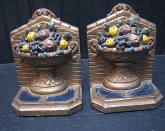 Antique Bookends Victorian Fruit in Urn