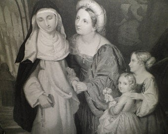 Visit To the Nun  Fine English Art Print Gebbie & Barrie, Publishers, 1876 Antique Victorian Steel Plate Engraving 1800's
