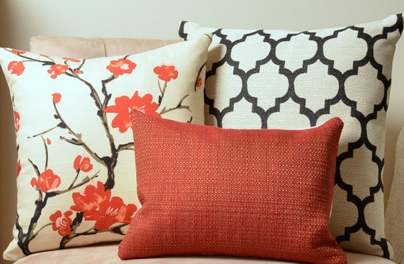 items similar to pillows red pillow black pillow cream. Black Bedroom Furniture Sets. Home Design Ideas