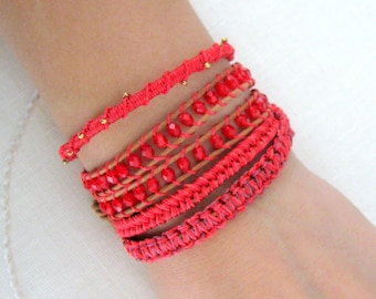 Macrame Leather Wrap Bracelet With Beads and Gold Button Clasp - Shades of Red