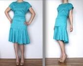 Vintage Turquoise Leopard Print Dress