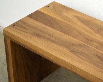 Modern solid Walnut wood bench