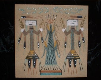 Unique SW Native American Sand Painting with Corn Signed