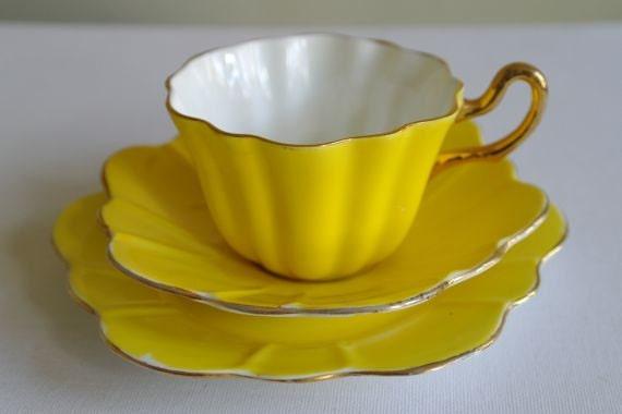 Royal Stuart Spencer Stevenson Harlequin Tea Cup Trio Yellow