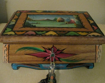 Vintage Hand Painted Wooden Box Folk Art
