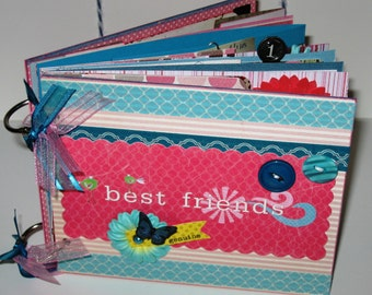 Chipboard Album  Best Friends in Pink and Blue 5x6 inches