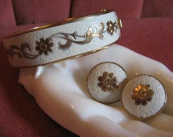 VINTAGE ETRUSCAN ENAMEL Bracelet and Earrings Set 1960's Retro