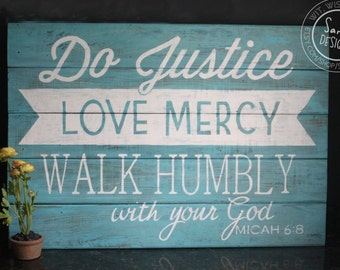 Hand Painted Sign - Micah 6:8 (X-LARGE) on reclaimed wood