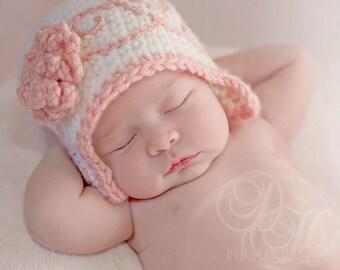 Crochet Baby Hat, Baby Girl, Newborn Photo Prop, Newborn Girl, Hat with Flower, Baby Crochet, Flapper Hat