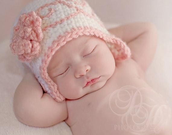 Newborn Hat Girl, Crochet Baby Hat, Baby Girl, Newborn Photo Prop, Newborn Girl, Hat with Flower, Baby Crochet, Flapper Hat