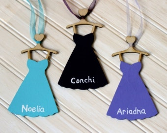 Bridesmaid Gift Personalized Wood Dress Tag or Charm with Ribbon (YOUR COLOR CHOICE) Will you be my Bridesmaid Maid of Honor