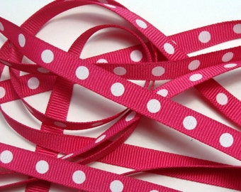 "3/8"" Grosgrain Ribbon - Fuchsia with White Dots - 5 yards"
