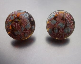 Beautiful Vintage Red and Blue 1950's  Murano glass bob earrings
